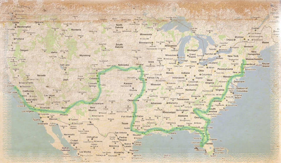 Photo - This map, posted on the website http://risephoenix.org, shows the route that Thomas Brown and Zachary Chipps are taking in their 7,000-mile, cross-country bike ride to raise awareness about suicide prevention programs. PHOTO PROVIDED.