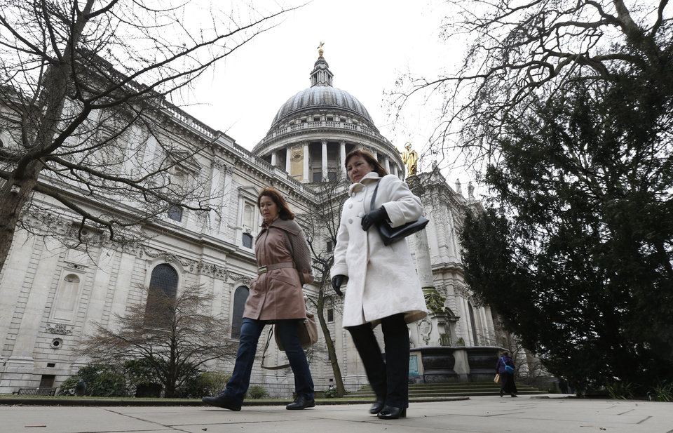 Photo - A view of the St. Paul's Cathedral in central London, Tuesday, April 9, 2013. The funeral service of former British Prime Minister Margaret Thatcher will be held at the cathedral on Wednesday, April 17. Thatcher, the combative