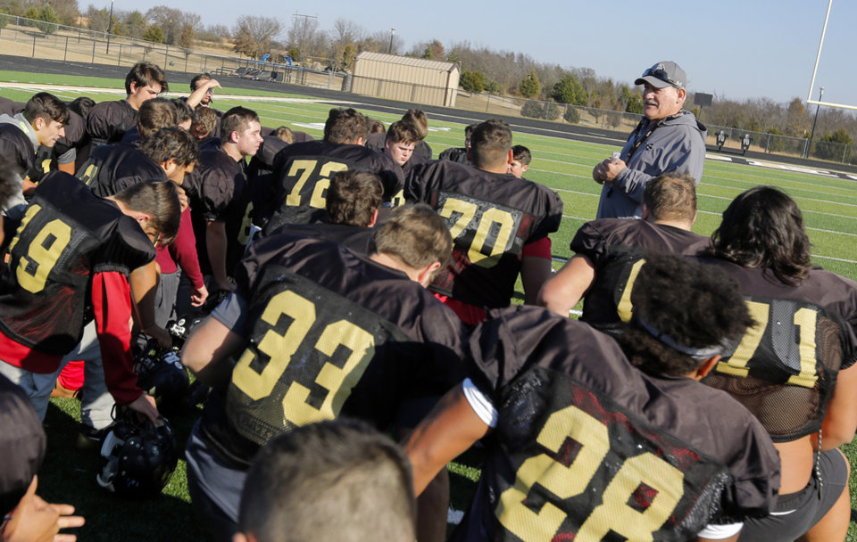 Photo -  David Tenison was semi-retired a year ago, but after a coaching change at Beggs High School, the 59-year-old took over as head coach. His experience and wisdom has been invaluable since running back Kayson Toliver was murdered. [PHOTO BY NATE BILLINGS, THE OKLAHOMAN]