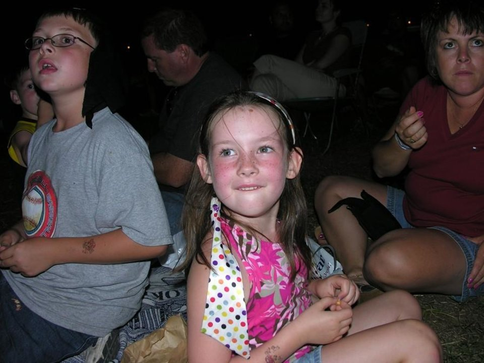 The Papandria Family (John, Ruth, Emily, Cameron, and Ryan) from Indianapolis, enjoying the Fireworks as the Red, White and Blue Festival 4 July  07<br/><b>Community Photo By:</b> Pat Madden<br/><b>Submitted By:</b> pat, choctaw
