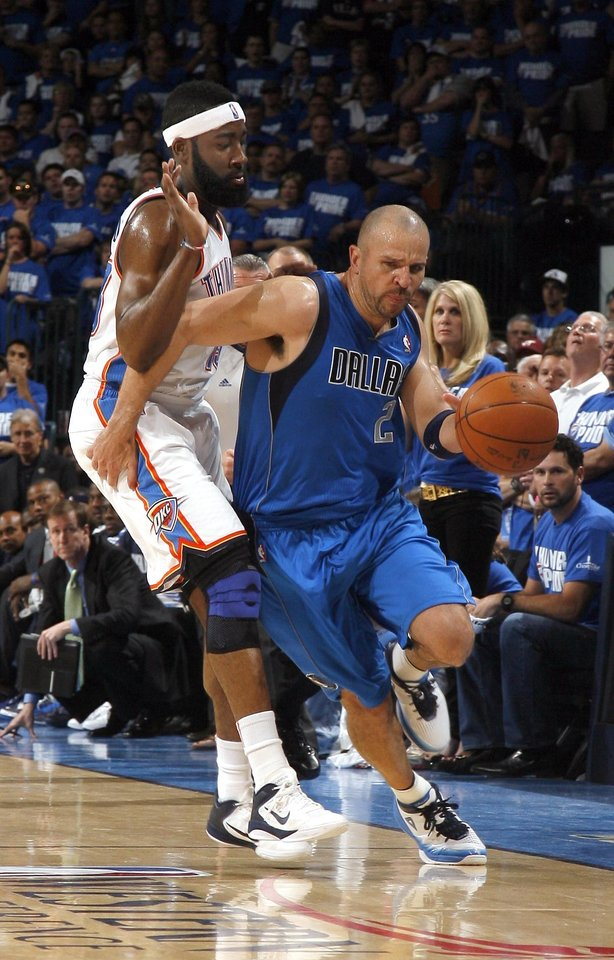 Jason Kidd (2) of Dallas tries to get by Oklahoma City's James Harden (13) during game 3 of the Western Conference Finals of the NBA basketball playoffs between the Dallas Mavericks and the Oklahoma City Thunder at the OKC Arena in downtown Oklahoma City, Saturday, May 21, 2011. Photo by Sarah Phipps, The Oklahoman