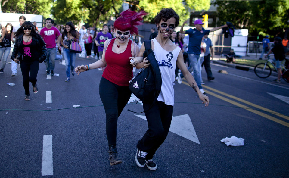 Lady Gaga fans arrive at the venue where the U.S. pop star will perform a concert, in Buenos Aires, Argentina, Friday, Nov. 16, 2012. The Latin American leg of her,