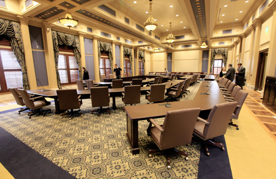 Photo - The new Senate Assembly Room on the 5th floor at the state Capitol in Oklahoma City is drawing praise for its beauty, but has some wondering about Legislative priorities. The room was formerly divided up into offices and meeting rooms. Photo by Paul B. Southerland, The Oklahoman  PAUL B. SOUTHERLAND - PAUL B. SOUTHERLAND