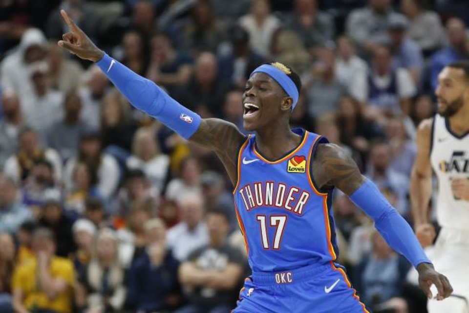 Photo -  Oklahoma City Thunder guard Dennis Schroder (17) reacts after scoring against the Utah Jazz in the second half during an NBA basketball game Monday, Dec. 9, 2019, in Salt Lake City. (AP Photo/Rick Bowmer)