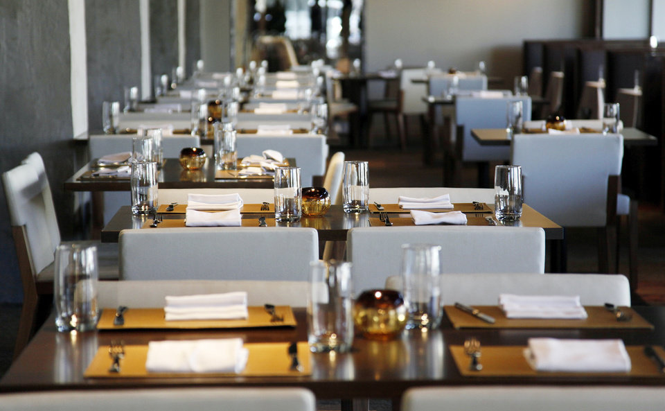 Photo - An interior view of Flint, the new restaurant inside the Colcord Hotel.  NATE BILLINGS - THE OKLAHOMAN