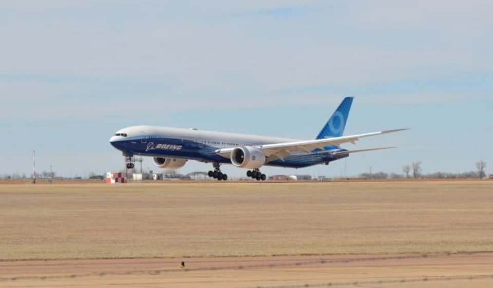 Photo -  A Boeing 777-9 arrived in Oklahoma Tuesday afternoon to begin flight tests from Clinton-Sherman Airport near Burns Flat. [ROD SERFOSS/CLINTON DAILY NEWS]