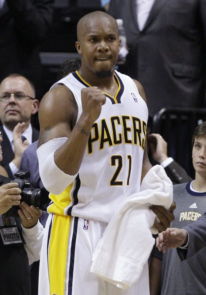 Photo -   Indiana Pacers forward David West celebrates late in the second half of Game 5 of an NBA basketball first-round playoff series against the Orlando Magic, in Indianapolis on Tuesday, May 8, 2012. The Pacers defeated the Magic 105-87 to win the series 4-1. (AP Photo/Michael Conroy)
