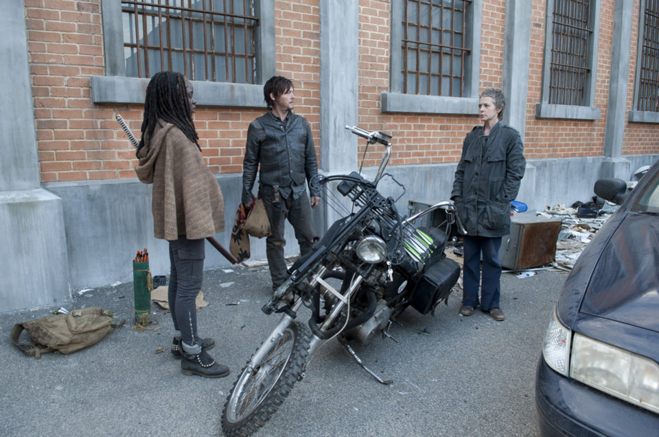 Michonne (Danai Gurira), Daryl Dixon (Norman Reedus) and Carol (Melissa Suzanne McBride) - The Walking Dead - Season 3, Episode 16 - Photo Credit: Gene Page/AMC