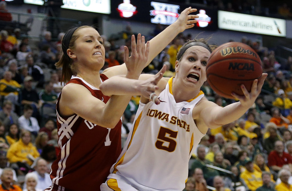 Photo - Oklahoma's Nicole Kornet (1) goes for the ball beside Iowa State's Hallie Christofferson (5) during the Big 12 tournament women's college basketball game between the University of Oklahoma and Iowa State University at American Airlines Arena in Dallas, Sunday, March 10, 2012.  Photo by Bryan Terry, The Oklahoman