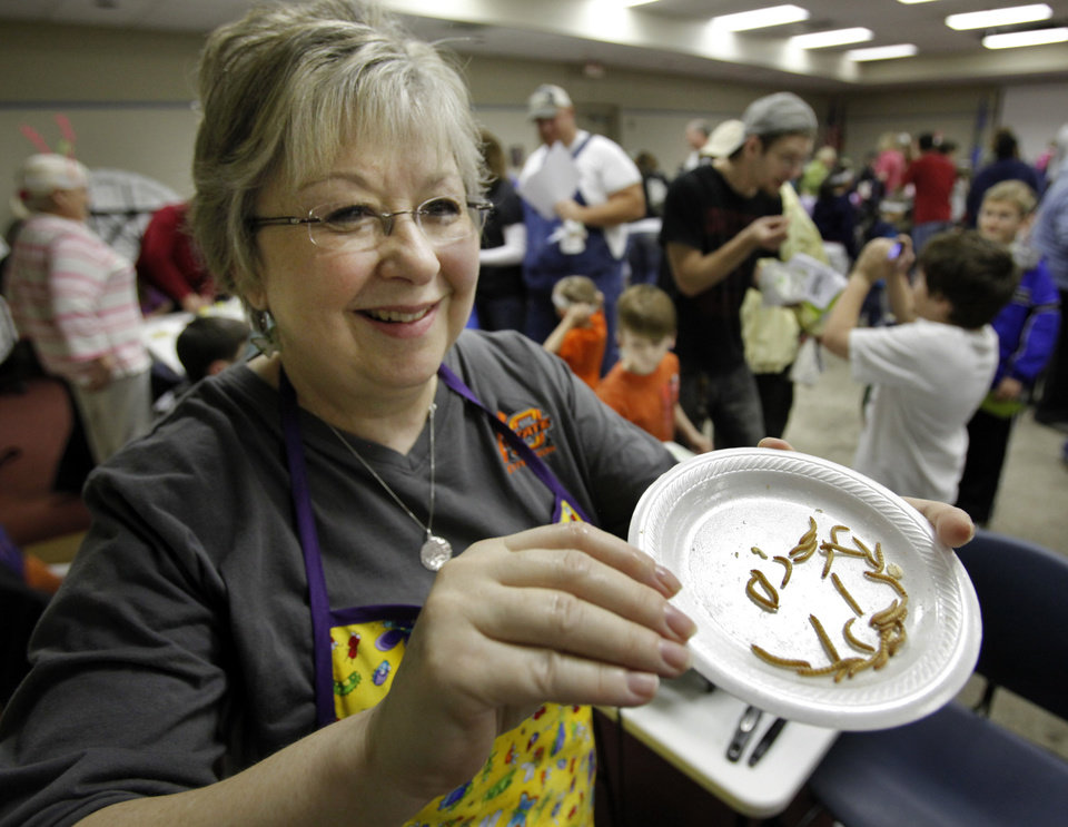 "Brenda Hill gets ready to fry meal worms to feed to patrons of ""Bug Fest"" at the Norman Public Library on Wednesday, March 21, 2012, in Norman, Okla.   Photo by Steve Sisney, The Oklahoman"