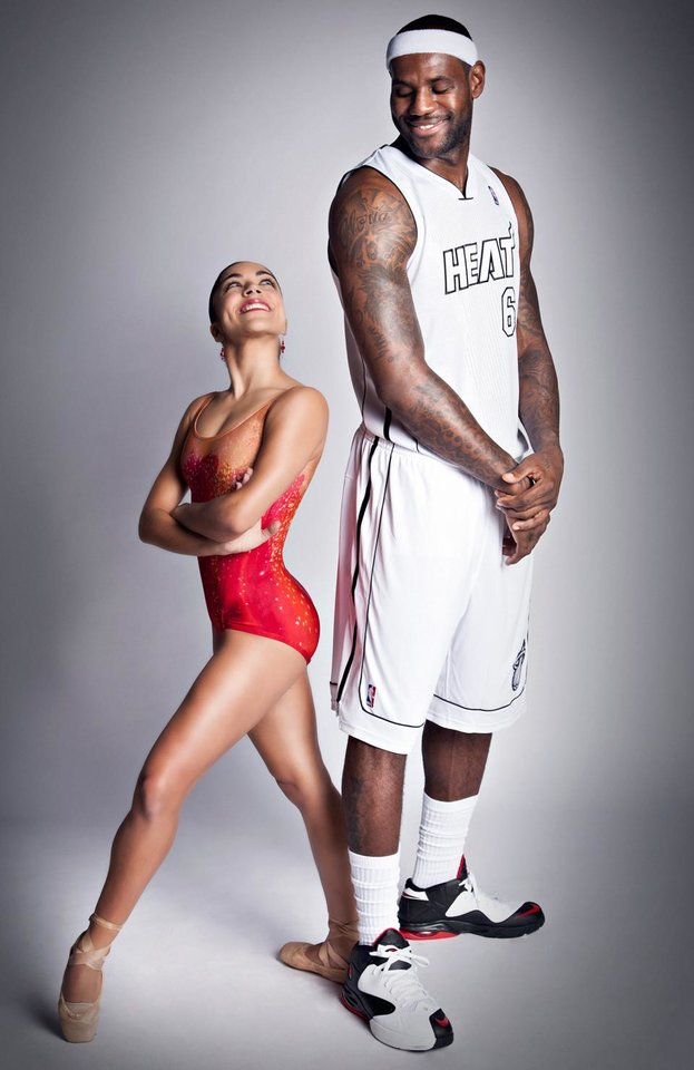 In this photo taken on Oct. 17, 2012 and made available by the Miami Heat, shows Miami City Ballet dancer Jeanette Delgado and Miami Heat player LeBron James in Miami.. The Miami City Ballet together with the Miami Heat are collaborating on a new ad campaign to promote Miami's cultural scene. (AP Photo/Miami Heat, David Alvarez)