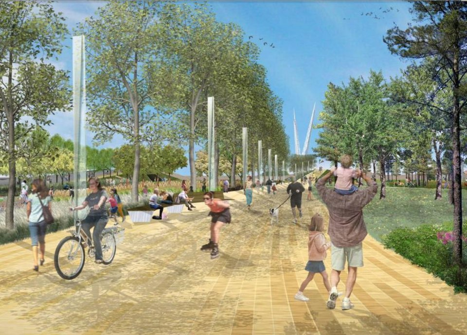 A prominade proposed as part of Core to Shore park south of downtown is shown in this rendering. <strong>Hargreaves Associates</strong>