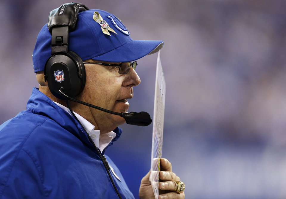 Photo -   Indianapolis Colts interim head coach Bruce Arians calls a play during the second half of an NFL football game against the Miami Dolphins in Indianapolis, Sunday, Nov. 4, 2012. (AP Photo/Darron Cummings)