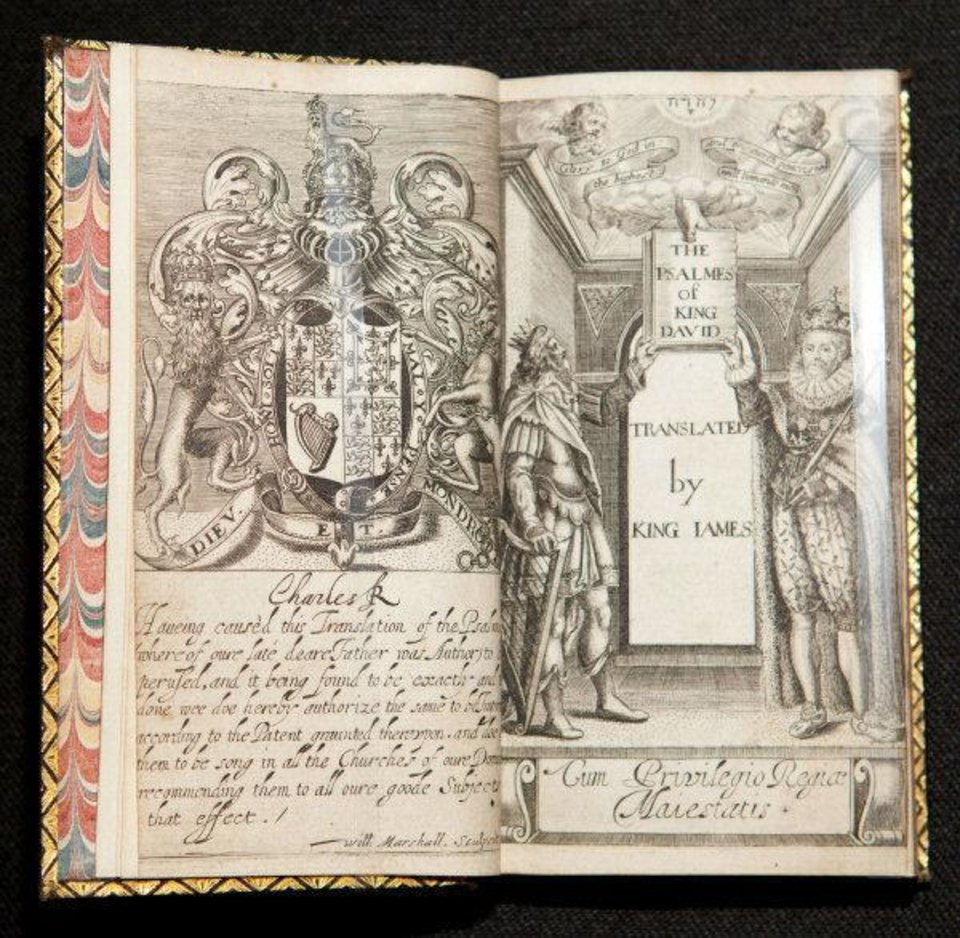 Photo - A 1631 metrical translation of the Book of Psalms that is believed to have been done by King James with the assistance of his clerical advisers is included in the
