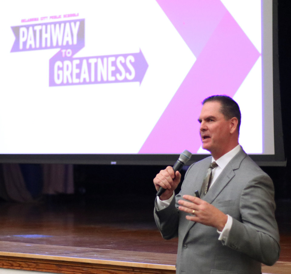 Photo - OKCPS Superintendent Sean McDaniel presents his Pathway to Greatness plan at the Oklahoma City School Board meeting, Tuesday, January 22, 2019.  Photo by Doug Hoke, The Oklahoman