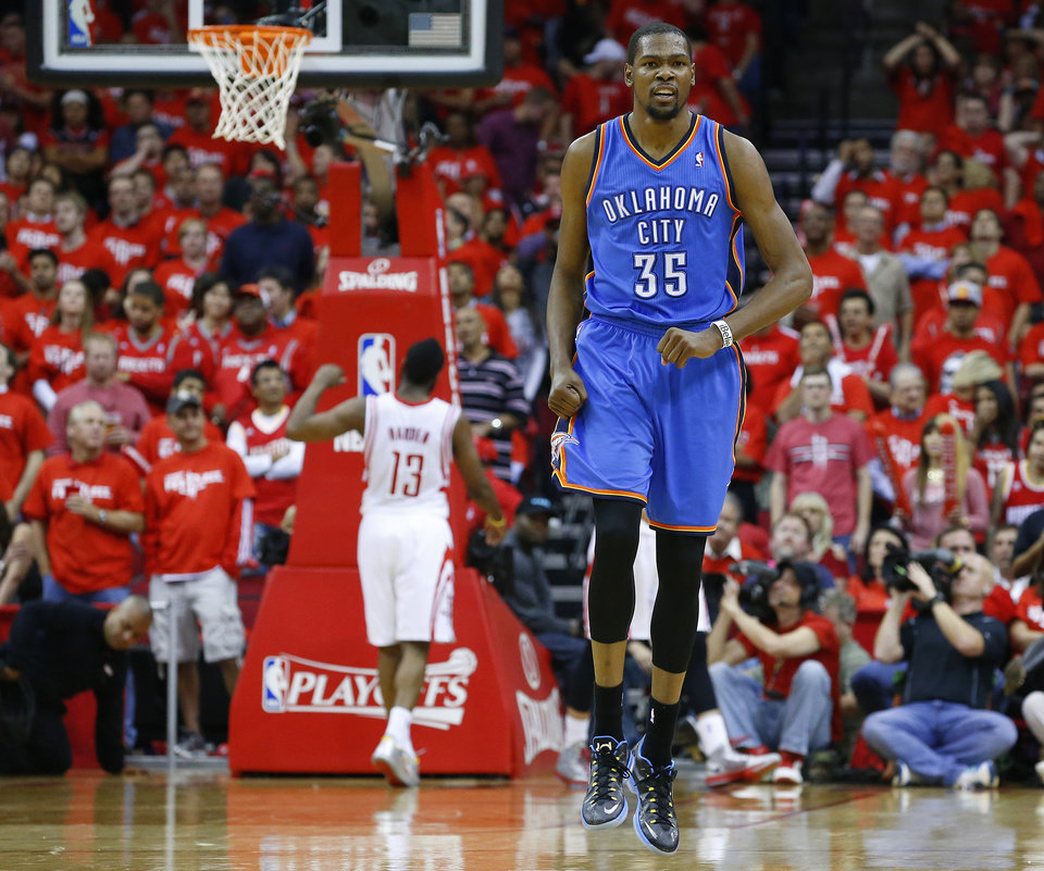 Oklahoma City\'s Kevin Durant (35) reacts during Game 6 in the first round of the NBA playoffs between the Oklahoma City Thunder and the Houston Rockets at the Toyota Center in Houston, Texas, Friday, May 3, 2013. Oklahoma City won 103-94. Photo by Bryan Terry, The Oklahoman