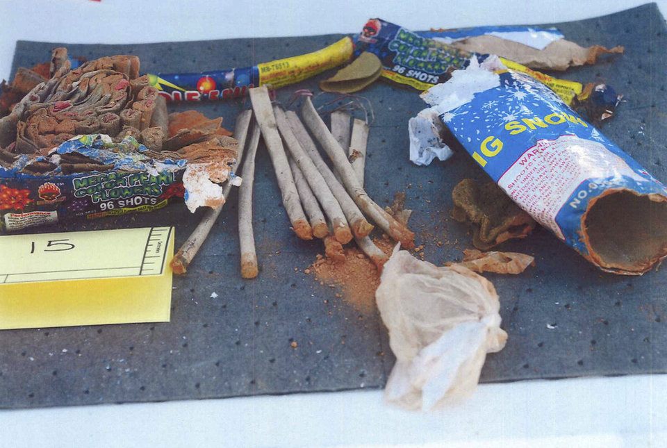 Photo - This photo released May 1, 2013 by the U.S. Attorney's office in a federal criminal complaint, shows fireworks, which the complaint said federal agents recovered from inside a backpack belonging to Boston Marathon bombing suspect Dzhokhar Tsarnaeva, found in a landfill in New Bedford, Mass.  Three men who attended the University of Massachusetts at Dartmouth with Tsarnaeva, were charged Wednesday, May 1, 2013, in connection with the case. (AP Photo/U.S. Attorney's Office)