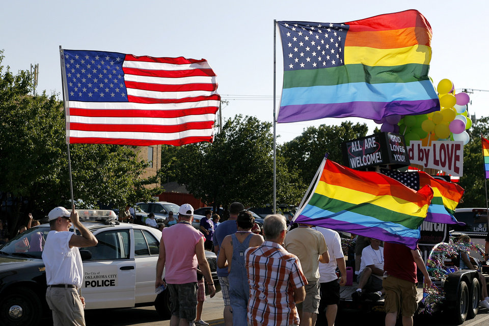 Flags fly during the Oklahoma City Gay Pride Parade in Oklahoma City, June 26, 2011.  Photo by Garett Fisbeck, The Oklahoman ORG XMIT: KOD