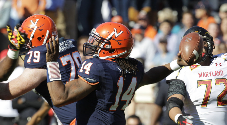 Photo -   Virginia quarterback Phillip Sims tosses a pass during an NCAA college football game against Maryland in Charlottesville, Va., Saturday, Oct. 13, 2012. Maryland won 27-20. (AP Photo/Steve Helber)