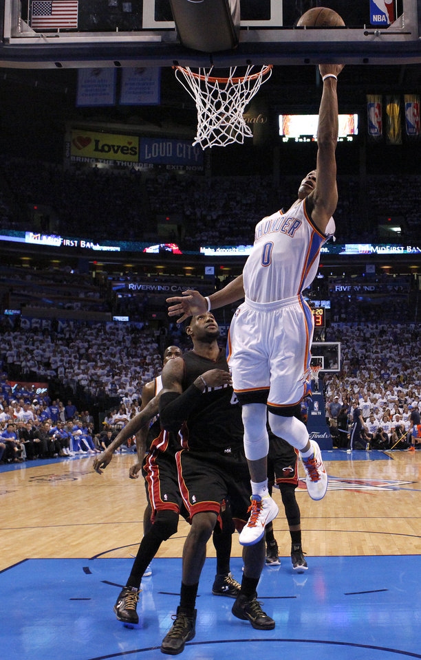 Oklahoma City's Russell Westbrook (0) shoots a lay up during Game 2 of the NBA Finals between the Oklahoma City Thunder and the Miami Heat at Chesapeake Energy Arena in Oklahoma City, Thursday, June 14, 2012. Photo by Sarah Phipps, The Oklahoman
