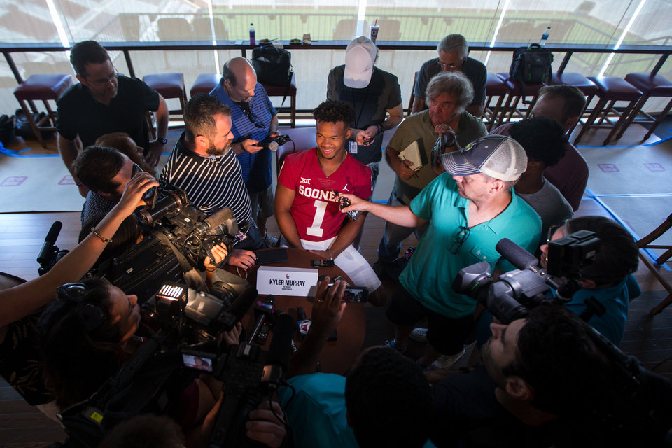 Photo - Quarterback Kyler Murray (1) speaks with reporters during the University of Oklahoma's Football Media Day at Gaylord Family-Oklahoma Memorial Stadium in Norman, Okla., Sunday, July 22, 2018. Photo by Anya Magnuson/The Oklahoman