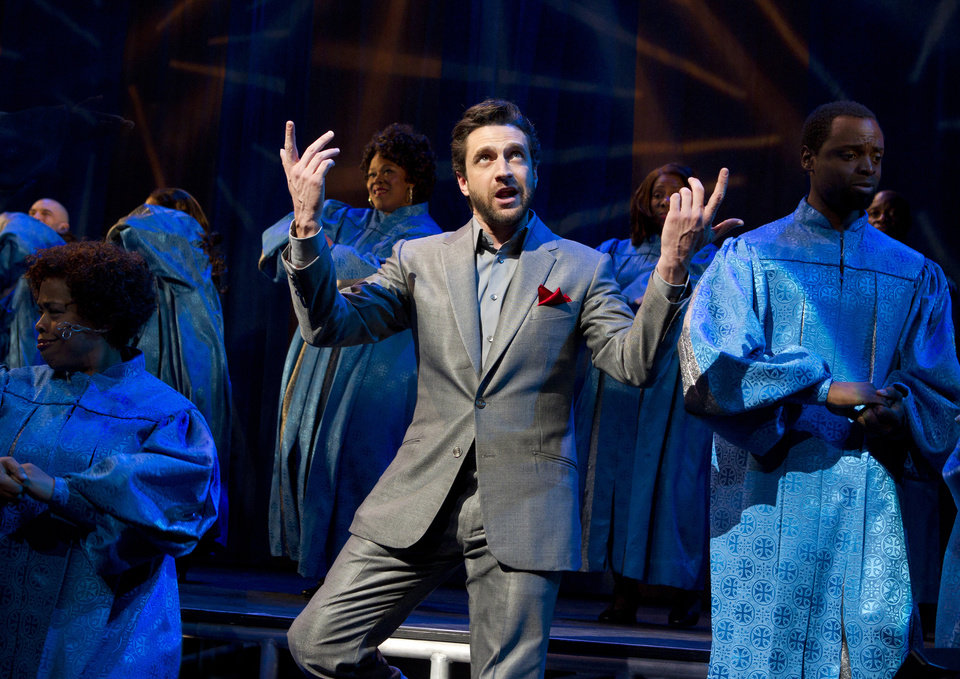 Photo -   In this theater image released by Boneau/Bryan-Brown, Raul Esparza is shown during a performance of