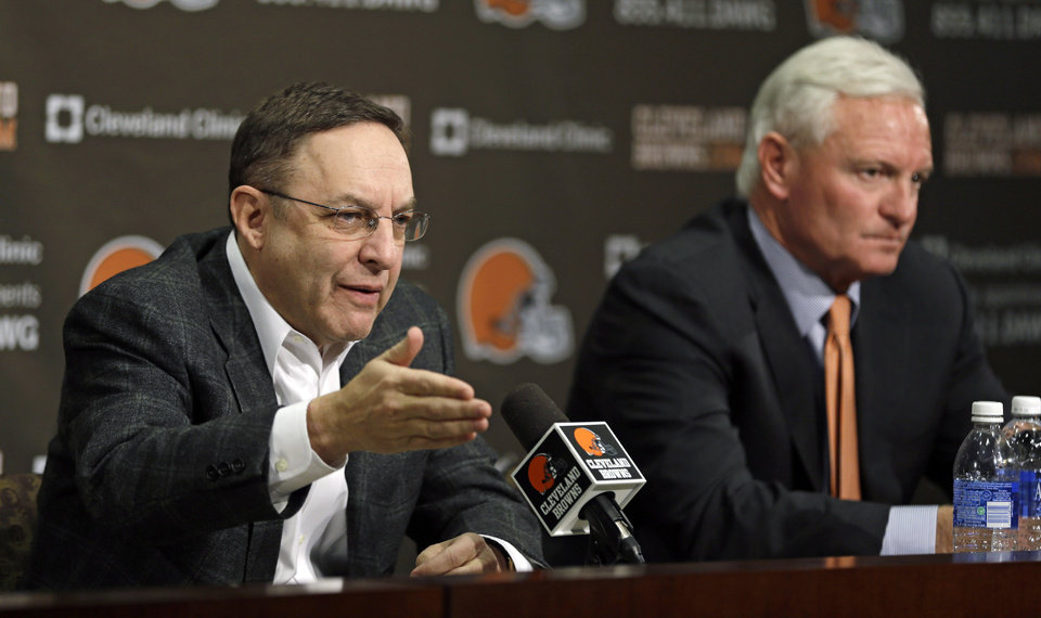 Cleveland Browns CEO Joe Banner, left, and new owner Jimmy Haslam answer questions during a news-conference at the Browns\' NFL football training facility Monday, Dec. 31, 2012, in Berea, Ohio. One day after ending yet another dismal season with a loss in Pittsburgh, Cleveland fired coach Pat Shurmur and general manager Tom Heckert, the first moves in what is expected to be a massive offseason overhaul by Haslam. (AP Photo/Tony Dejak)