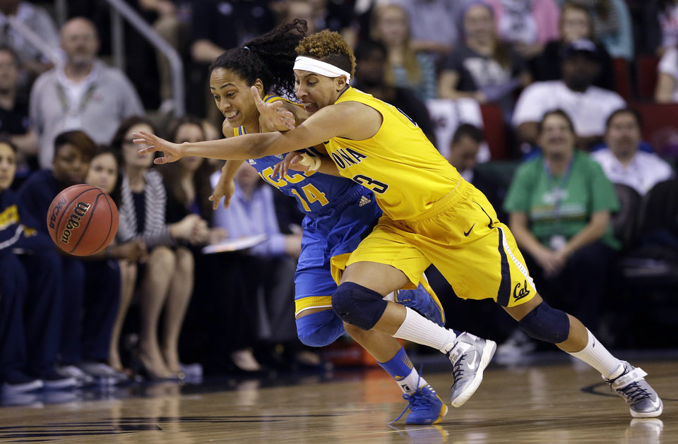 UCLA\'s Mariah Williams (14) and California\'s Layshia Clarendon chase a loose ball in the first half of an NCAA college basketball game in the Pac-12 Conference tournament Saturday, March 9, 2013, in Seattle. (AP Photo/Elaine Thompson)