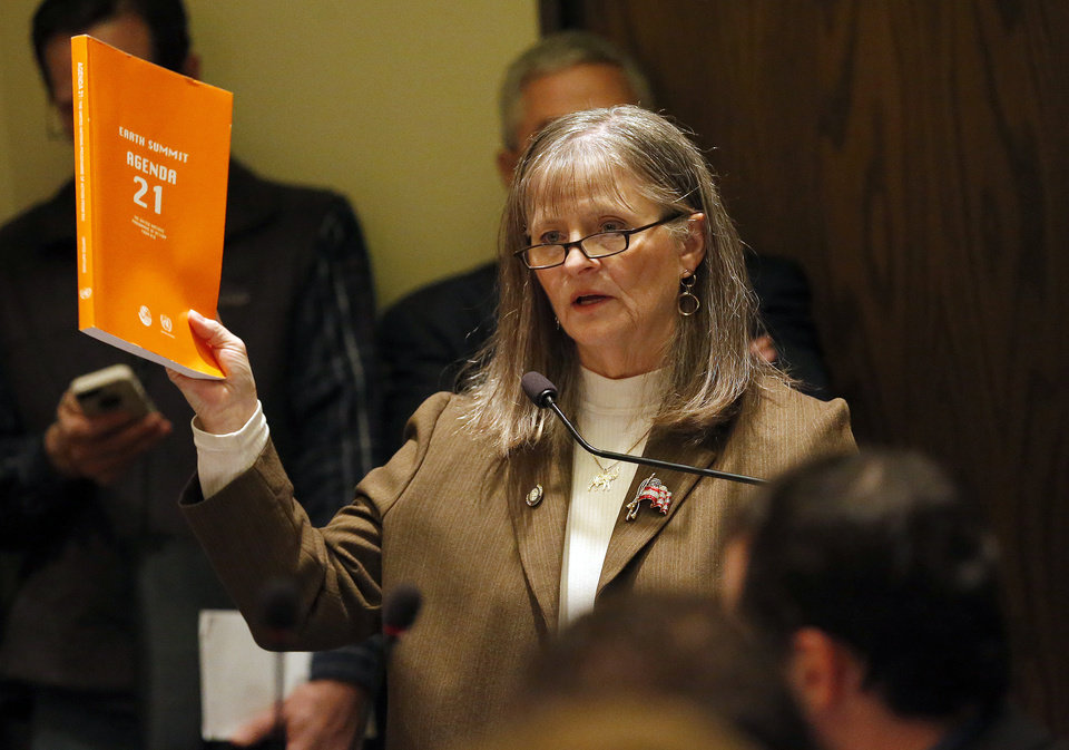 Sally Kern holds a copy of the United Nations Earth Summit Agenda 21, while she talks about HB 1412 during a house committee meeting at the state Capitol, Tuesday, Feb. 26, 2013. Photo by Sarah Phipps, The Oklahoman