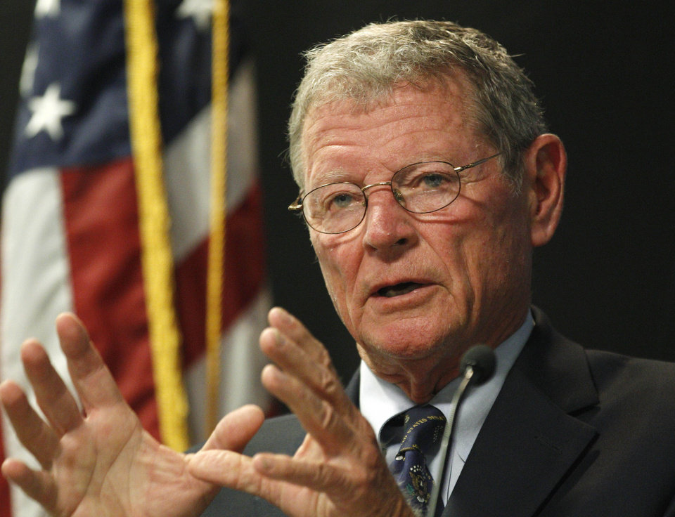 FILE - In this Monday, Aug. 22, 2011, file photo U.S. Sen. Jim Inhofe, R-Okla., gives a speech at the Oklahoma City Bombing Memorial & Museum, in Oklahoma City. Quarterly campaign reports for U.S. House and Senate candidates are due Monday, giving an early glimpse at the financial footing of Oklahoma\'s incumbents and names of possible challengers. (AP Photo/Sue Ogrocki, File)