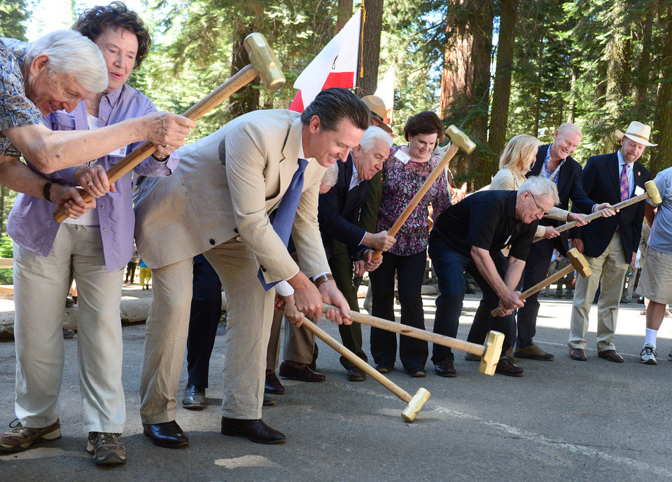 Photo - Dignitaries including Lt. Gov. Gavin Newsom, third from left, swing sledgehammers onto the asphalt parking lot during a ceremonial groundbreaking for the eventual restoration of Mariposa Grove following a ceremony commemorating the Yosemite Land Grant sesquicentennial in the grove Monday, June 30, 2014. (AP Photo/The Fresno Bee, Craig Kohlruss)