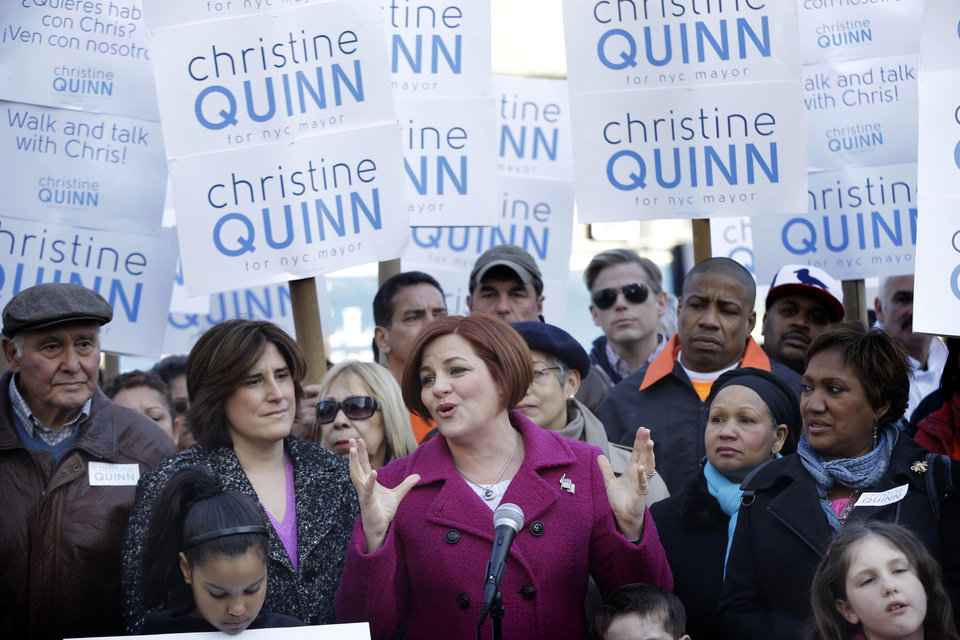 Surrounded by family and supporters, New York City Council speaker and mayoral hopeful Christine Quinn, center, speaks to the media as she announces her mayoral run in New York, Sunday, March 10, 2013. The New York City Council speaker has formally launched what she hopes will be a history-making mayoral bid this fall. (AP Photo/Seth Wenig)