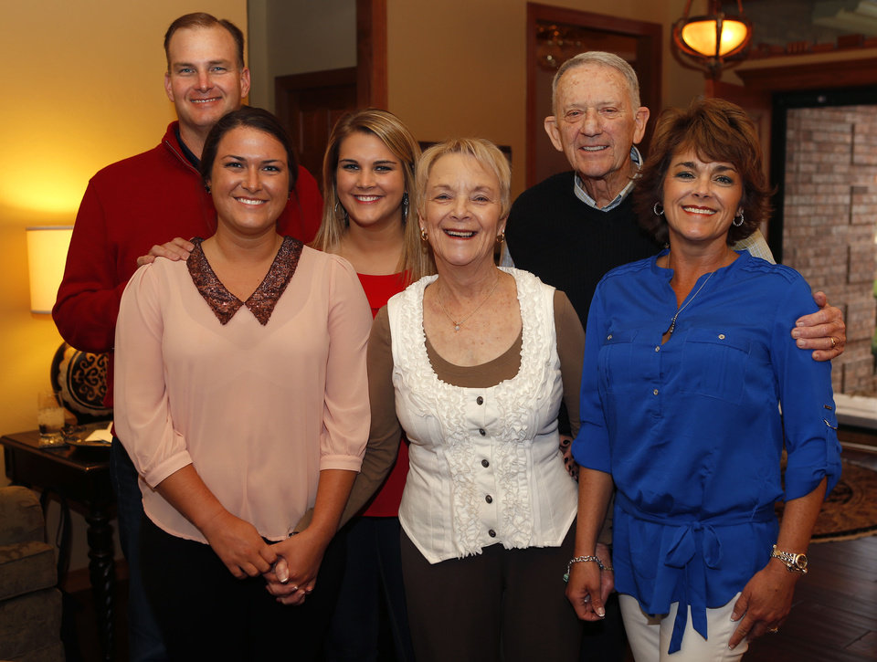 Photo - MARY ANN MARKEY: From left Ken Whittington, Sara Whittington, Alli Whittington, Mary Ann and Jim Markey, and their daughter Susan Markey Whittington pose for a photo during the Markey's 50th anniversary party in Edmond, Saturday, March 23, 2013. Photo by Bryan Terry, The Oklahoman