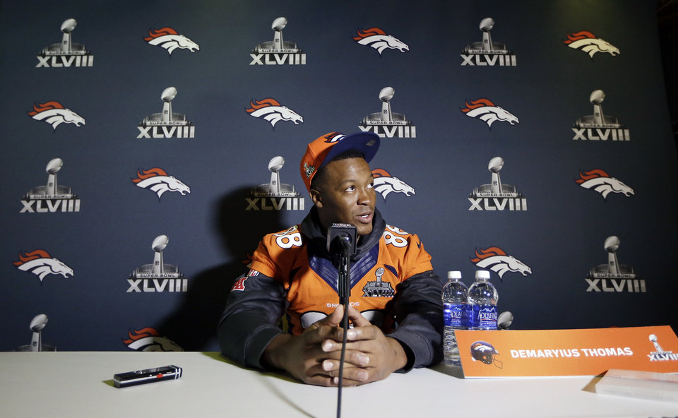 Denver Broncos wide receiver Demaryius Thomas talks with reporters during a news conference Thursday, Jan. 30, 2014, in Jersey City, N.J. The Broncos are scheduled to play the Seattle Seahawks in the NFL Super Bowl XLVIII football game Sunday, Feb. 2, in East Rutherford, N.J. (AP Photo)