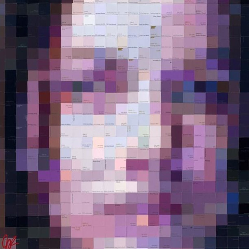 """Photo -  Dallas """"swatch"""" painter Jennifer Lashbrook, the featured artist at the 2013 Arts Festival Oklahoma, created this pixilated self-portrait out of purple squares cut from paint swatches."""