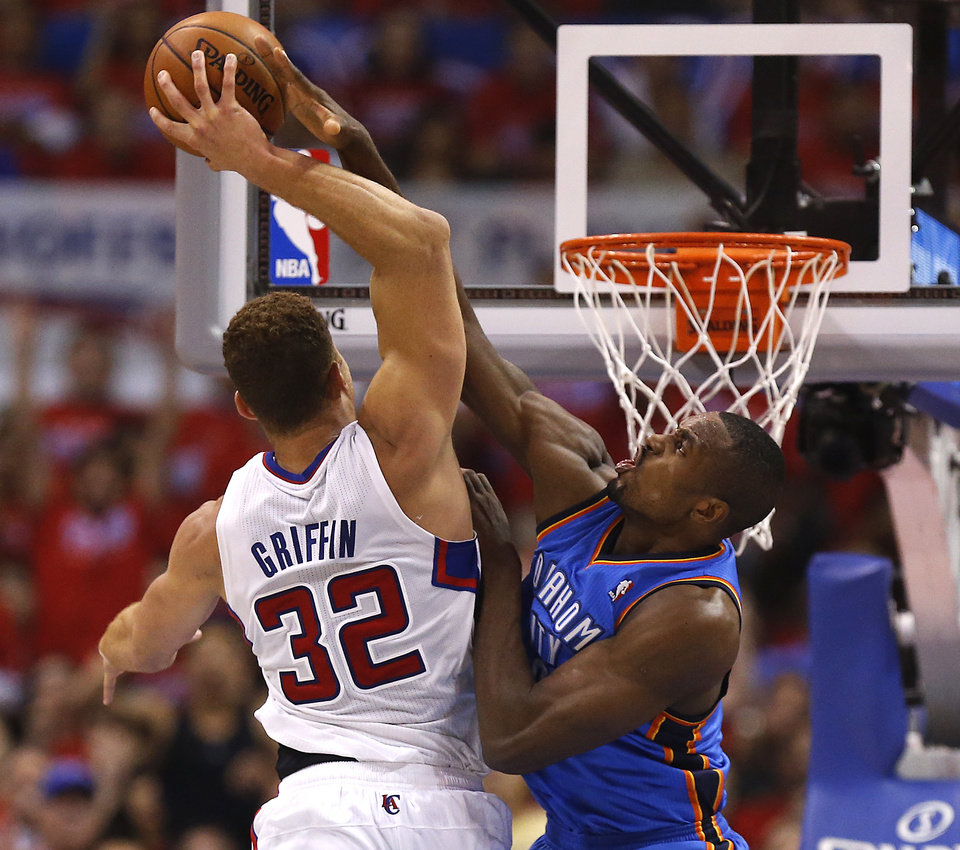 Oklahoma City's Serge Ibaka (9) fouls Los Angeles' Blake Griffin (32) during Game 6 of the Western Conference semifinals in the NBA playoffs between the Oklahoma City Thunder and the Los Angeles Clippers at the Staples Center in Los Angeles, Thursday, May 15, 2014. Photo by Nate Billings, The Oklahoman