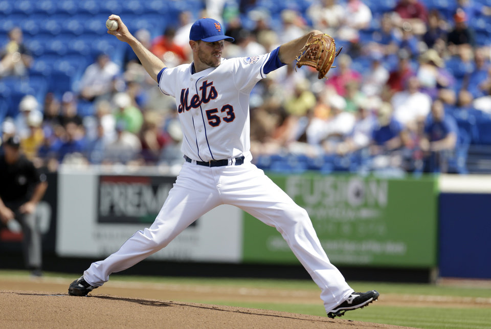 New York Mets starting pitcher Jeremy Hefner throws during the first inning of an exhibition spring training baseball game against the Houston Astros Saturday, March 9, 2013, in Port St. Lucie, Fla. (AP Photo/Jeff Roberson)