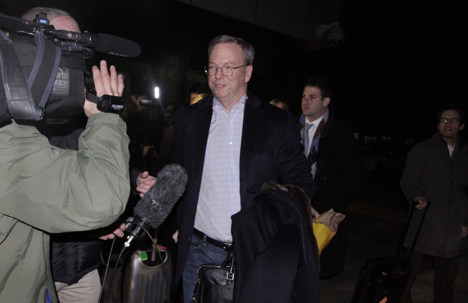 Executive Chairman of Google Eric Schmidt is surrounded by journalists after arriving at Pyongyang International Airport in Pyongyang, North Korea on Monday, Jan. 7, 2013. Schmidt arrived in the North Korean capital, along with former New Mexico Gov. Bill Richardson. Richardson called the trip to North Korea a private humanitarian visit. (AP Photo/Kim Kwang Hyon)
