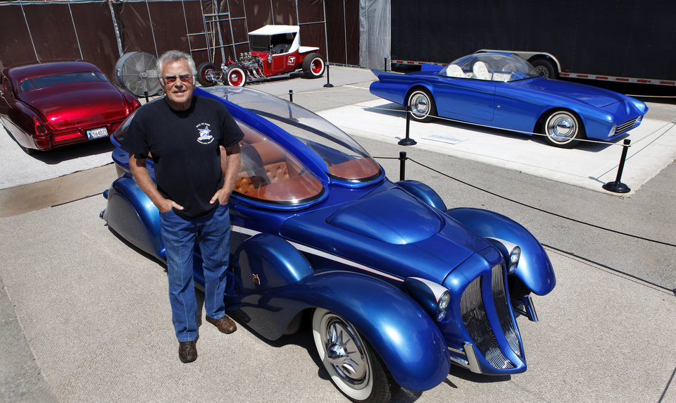 Photo - Custom car builder and designer Darryl Starbird has brought a half-dozen of his cars from the National Rod & Custom Car Hall of Fame Museum to the Oklahoma State Fair. The museum is located in Afton.  This photo taken Monday, Sep. 17, 2012,  Photo by Jim Beckel, The Oklahoman.