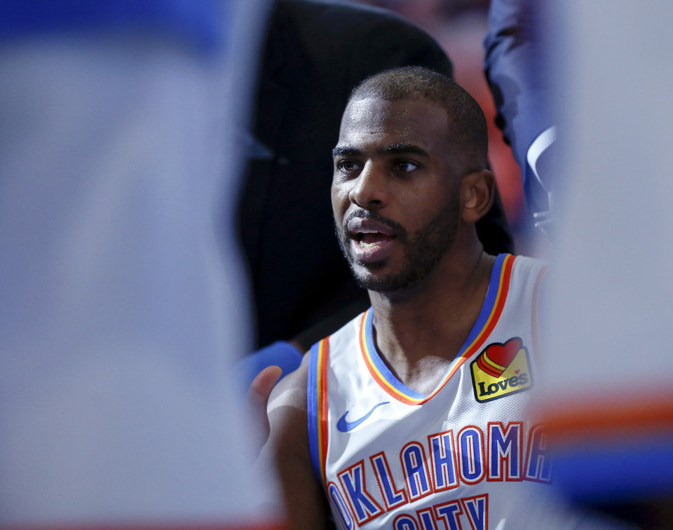 Photo - Oklahoma City's Chris Paul (3) speaks to teammates during a timeout between the third and fourth quarters in an NBA basketball game between the Oklahoma City Thunder and Chicago Bulls at Chesapeake Energy Arena in Oklahoma City, Monday, Dec. 16, 2019. Oklahoma City won 109-106. [Nate Billings/The Oklahoman]