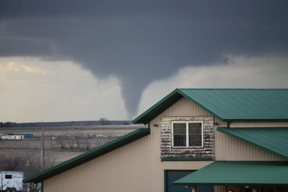 Photo - This is the tornado in Hammon, taken from my driveway in Elk City.  User-submitted by Linda Zehnpfund.