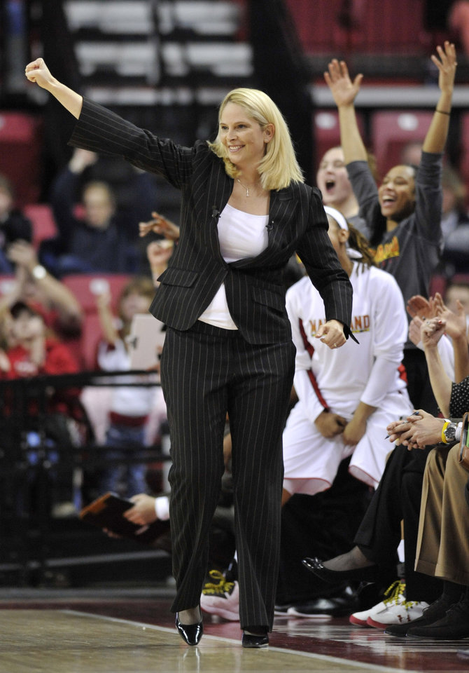 Maryland coach Brenda Frese reacts to a basket against North Carolina during the first half of an NCAA college basketball game on Thursday, Jan. 24, 2013, in College Park, Md. Maryland won 85-59. (AP Photo/Gail Burton).