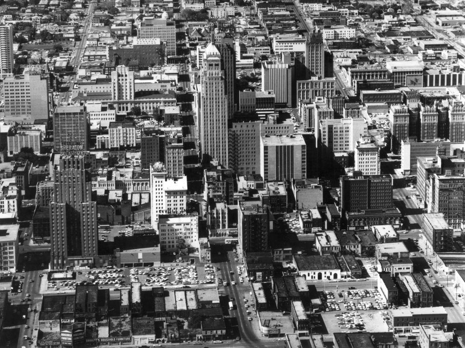 OKLAHOMA CITY / SKYLINE / AERIAL VIEW:  Aerial view of downtown Oklahoma City taken by a staff photographer on 4-25-68.  View is looking north from about Reno between Harvey Avenue (west) and the railroad tracks (east). Intersection at bottom center of photo is Reno and Robinson.