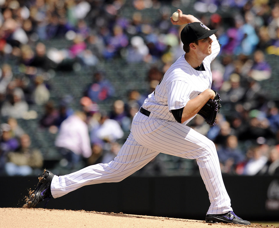 Photo -   Colorado Rockies starting pitcher Drew Pomeranz throws in the first inning of a baseball game against the Arizona Diamondbacks on Sunday, April 15, 2012 in Denver. (AP Photo/Chris Schneider)
