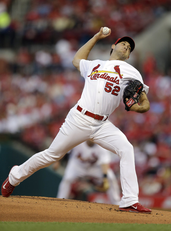 Photo - St. Louis Cardinals starting pitcher Michael Wacha throws during the first inning of a baseball game against the Milwaukee Brewers on Monday, April 28, 2014, in St. Louis. (AP Photo/Jeff Roberson)