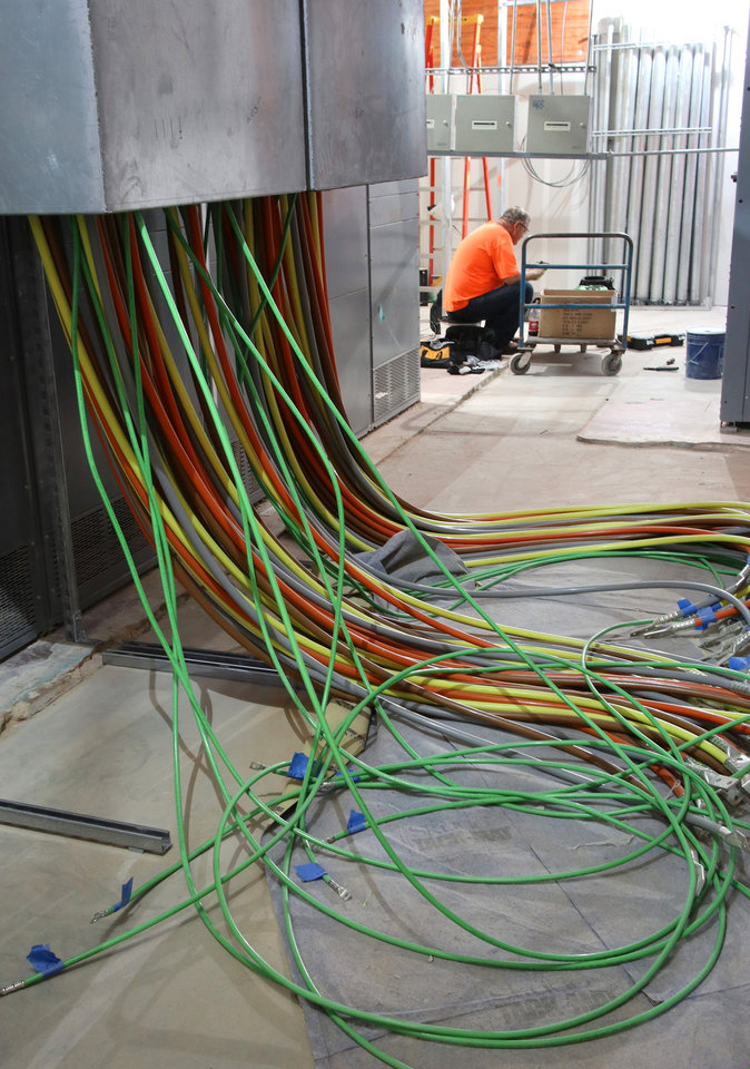 Photo -  New wiring goes in during the Capitol Restoration Project.