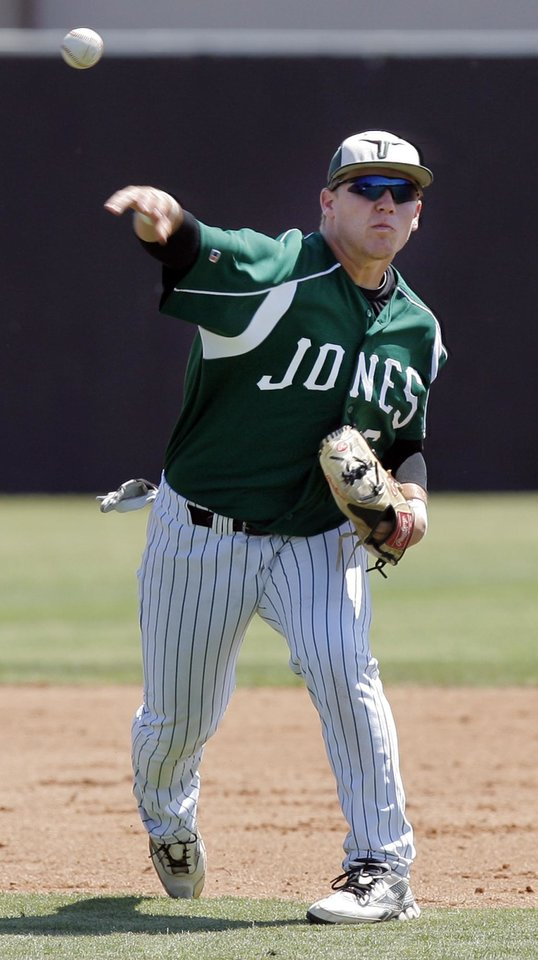 Jones' Taylor Bilyeu (6) throws back to first base during a Class 3A state championship tournament high school baseball game between Marlow and Jones at the Edmond Memorial baseball field in Edmond, Okla.,  Thursday, May 10, 2012. Jones won, 2-0. Photo by Nate Billings, The Oklahoman