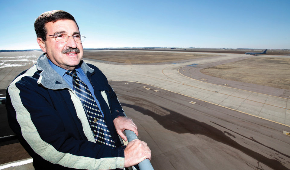 Photo - Bill Khourie, executive director of the Oklahoma Space Industry Development Authority, looks across the Oklahoma Spaceport. Photo by David McDaniel, THE OKLAHOMAN