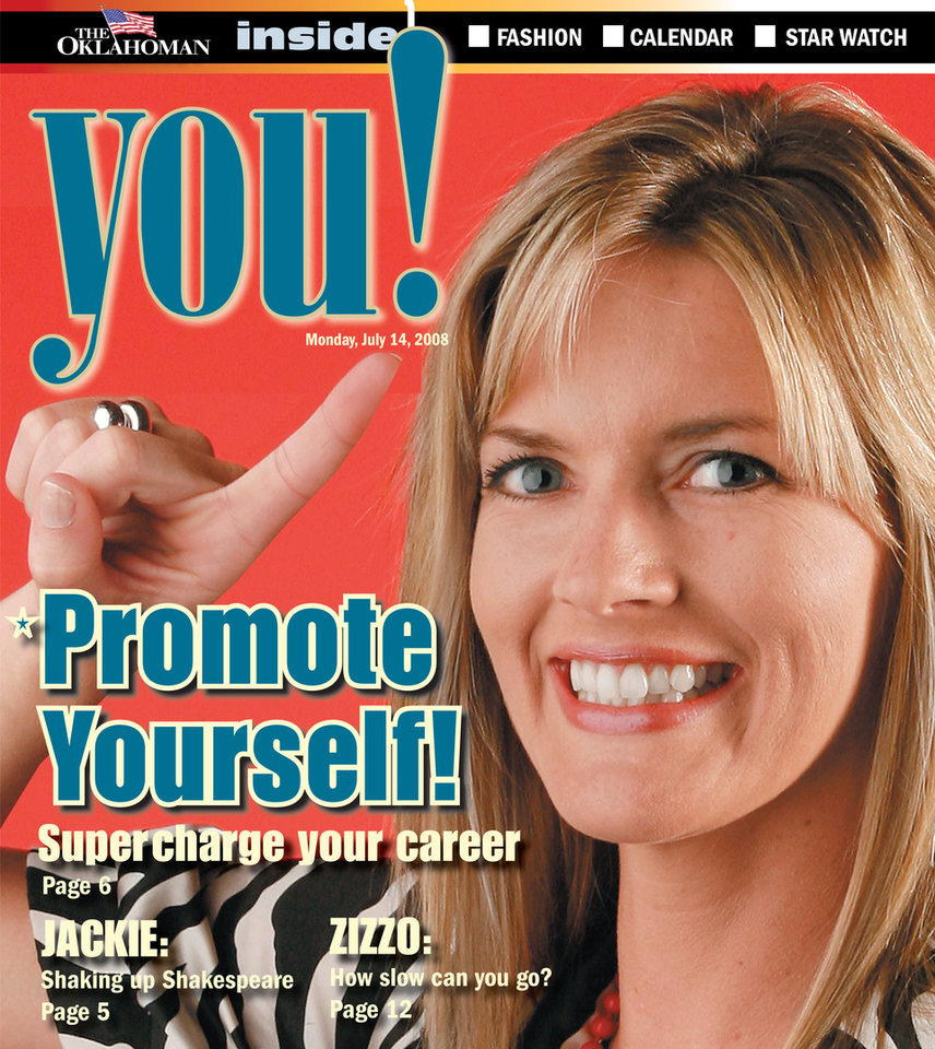 Photo - Graphic with photo: Promote Yourself! Supercharge your career - Photo: Nate Billings / Cover photo illustration: Babetta Juergens - Photo: Model Jaimie Boden with trophy for You! self promotion cover. Photographed in the OPUBCO studio, Tuesday July 8, 2008. BY NATE BILLINGS, THE OKLAHOMAN ORG XMIT: KOD