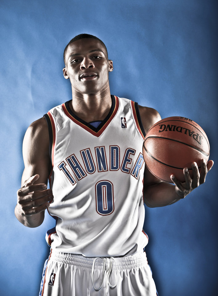 DO NOT USE. FOR THUNDER PREVIEW ONLY. 			NBA BASKETBALL: RUSSELL WESTBROOK during the Oklahoma City Thunder media day on Monday, Sept. 28, 2009, in Oklahoma City, Okla.  Photo by Chris Landsberger, The Oklahoman. ORG XMIT: KOD